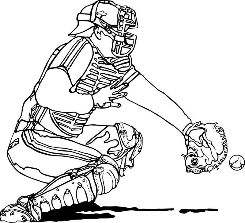 realistic baseball coloring picture