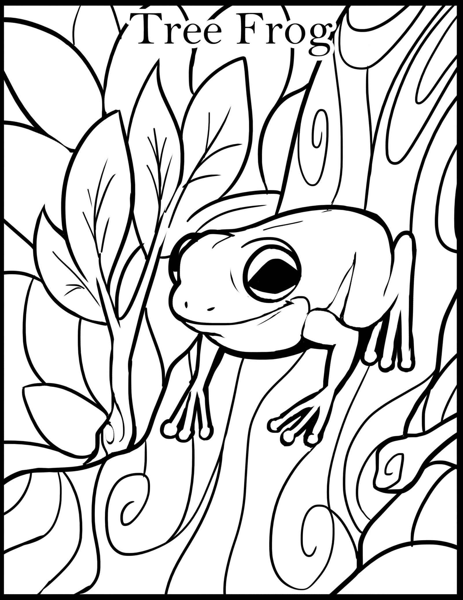 tree frog coloring page to print