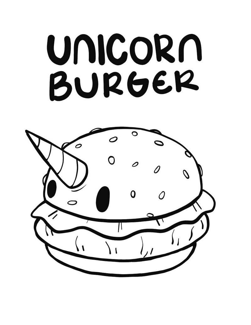 unicorn burger coloring page burger formed like unicorn