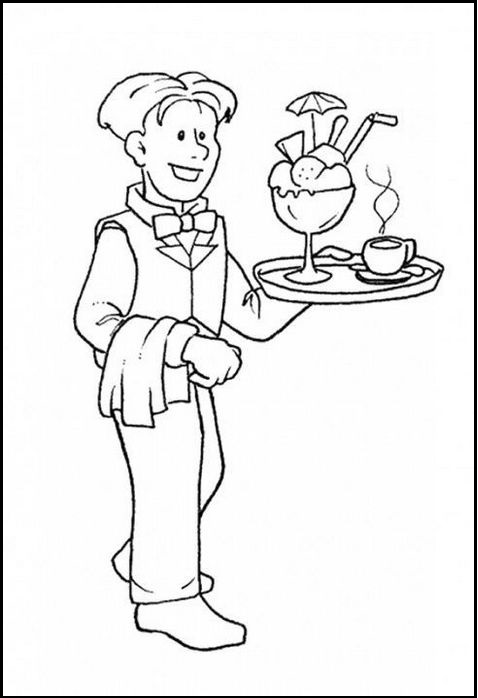 waiter coloring printable sheet