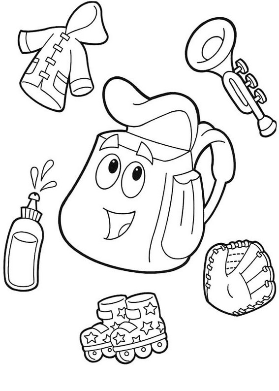 Adventure Dora Backpack Coloring Sheets
