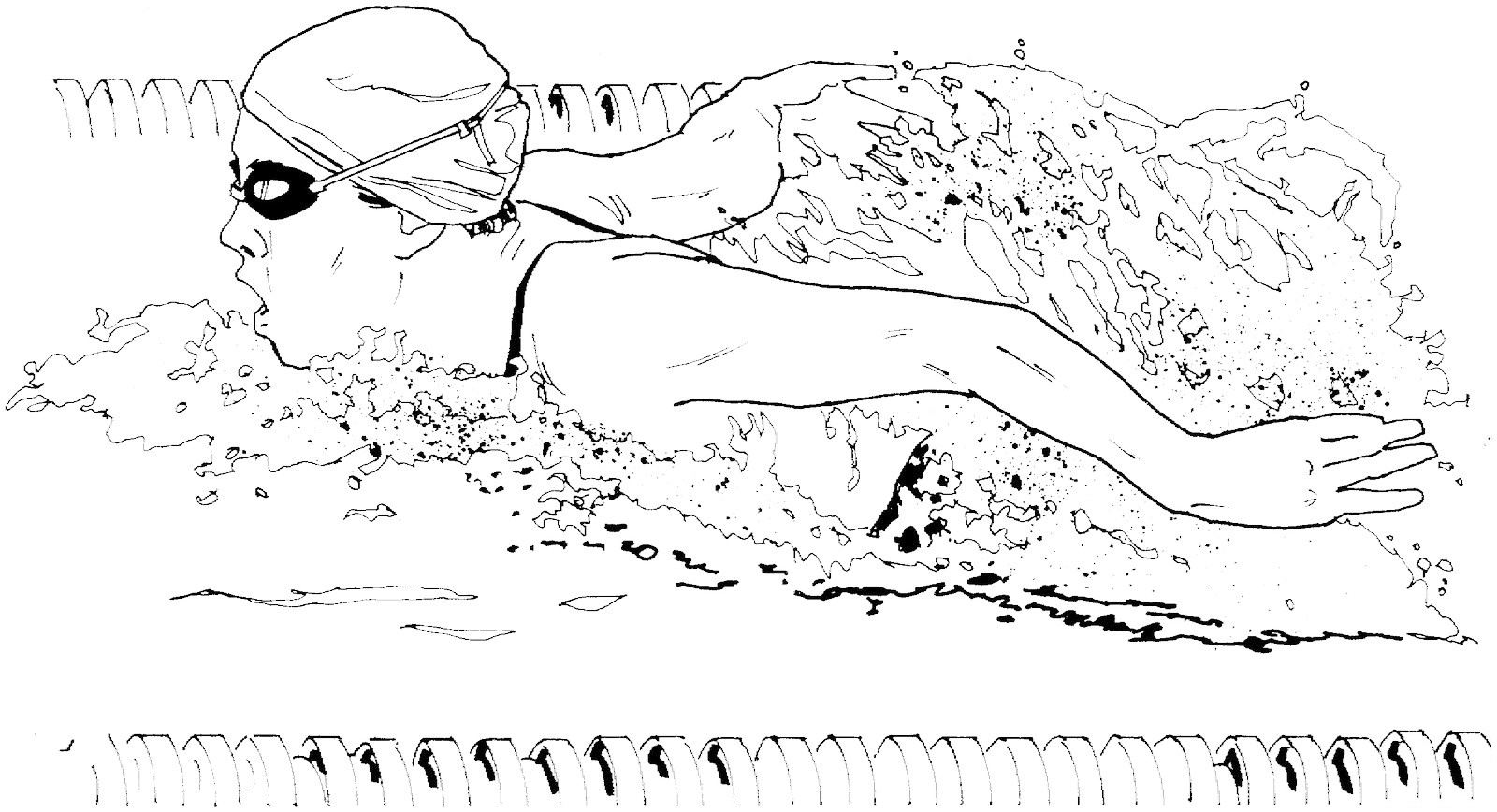 Athletic Swimming Coloring Page