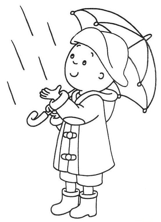 Caillou in rainy weather day coloring page