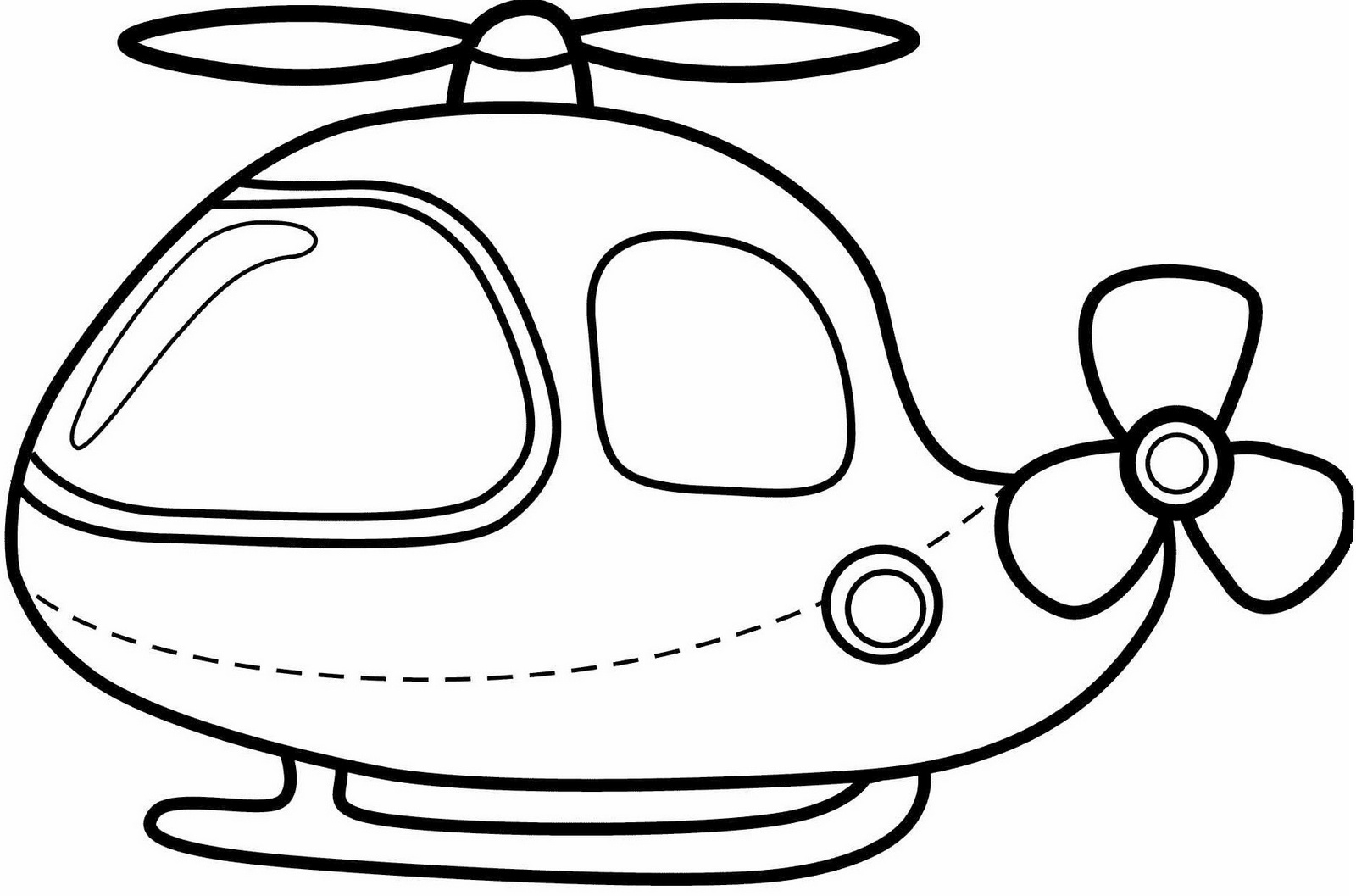 Cute Cartoon Helicopter Coloring Pictures for Kids