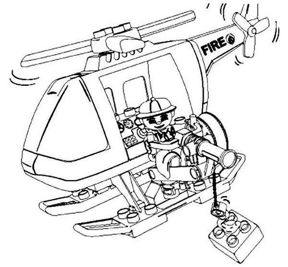 Lego Helicopter Firefighter Coloring Pages