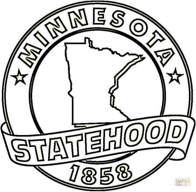 Minnesota state symbols coloring picture
