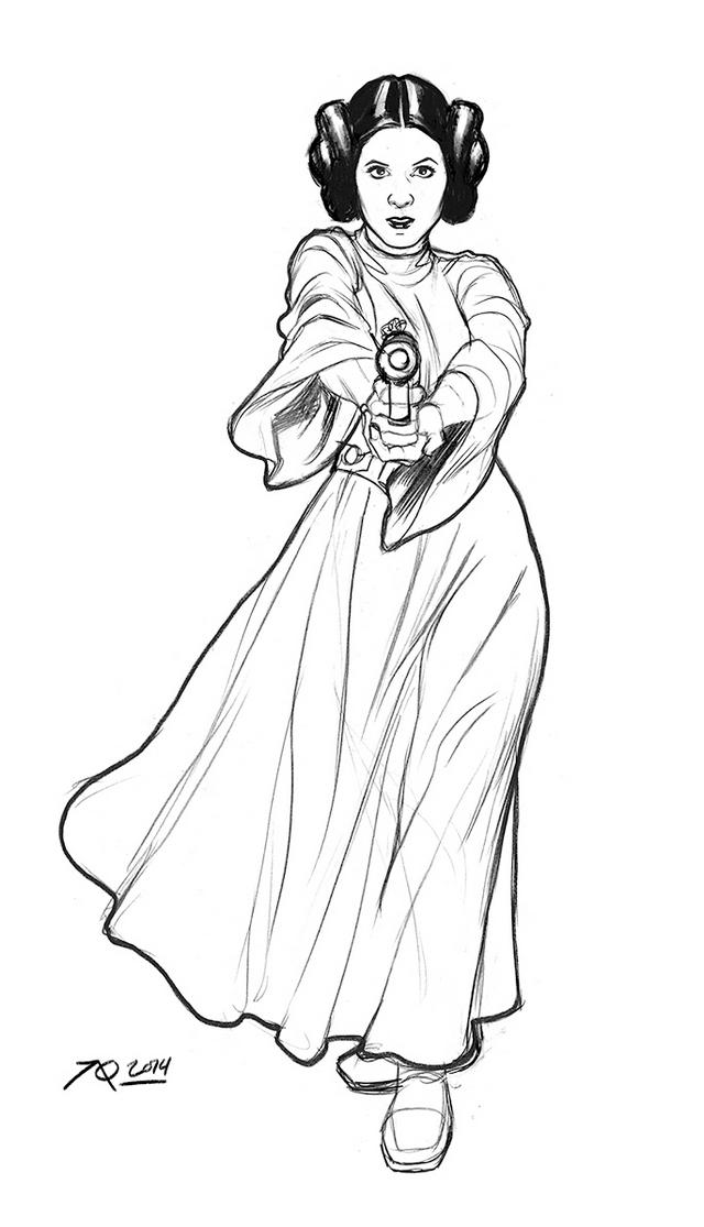 Princess Leia Coloring Page Illustration