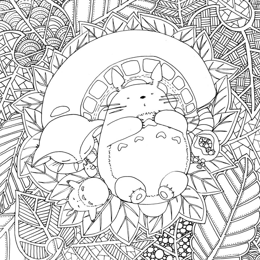 Tonari no Totoro in the garden coloring sheet for kids