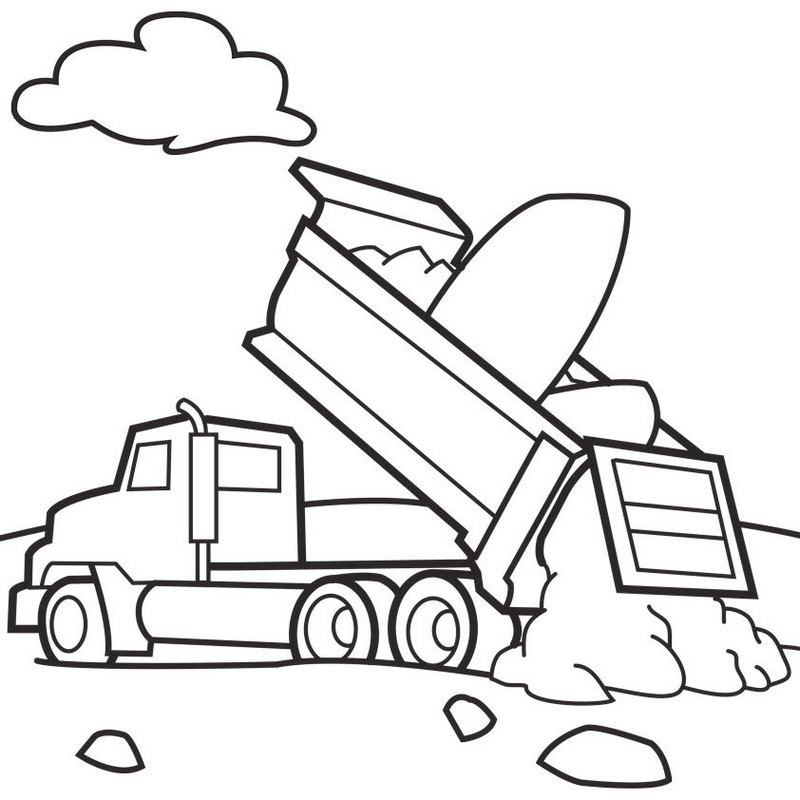 Tri Axle Dump Truck Coloring Pages