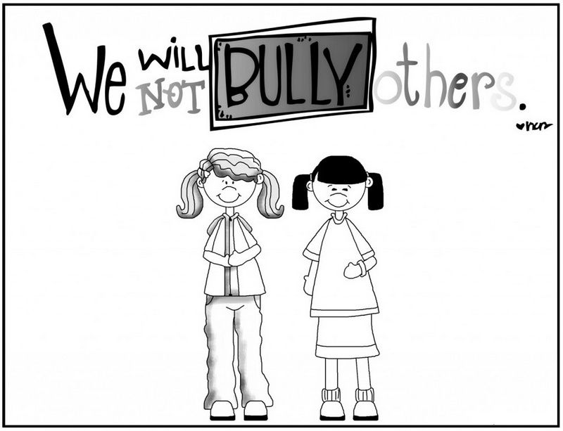 anti bullying coloring and sketch drawing page with lettering we will not bully others