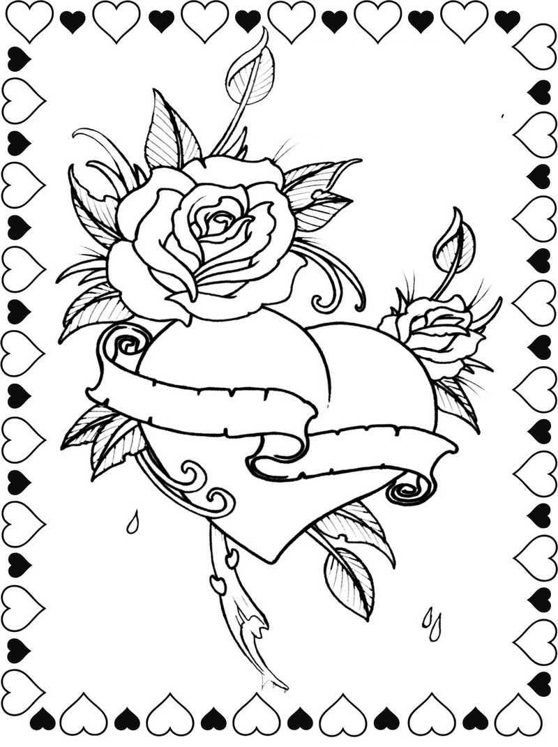 beautiful designs of hearts and roses coloring page
