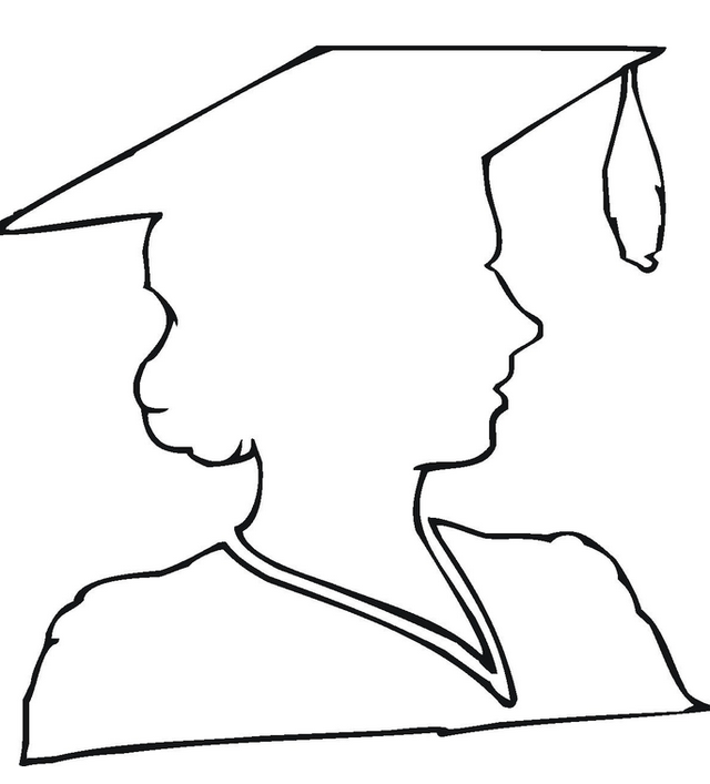 beautiful girl graduation logo coloring picture