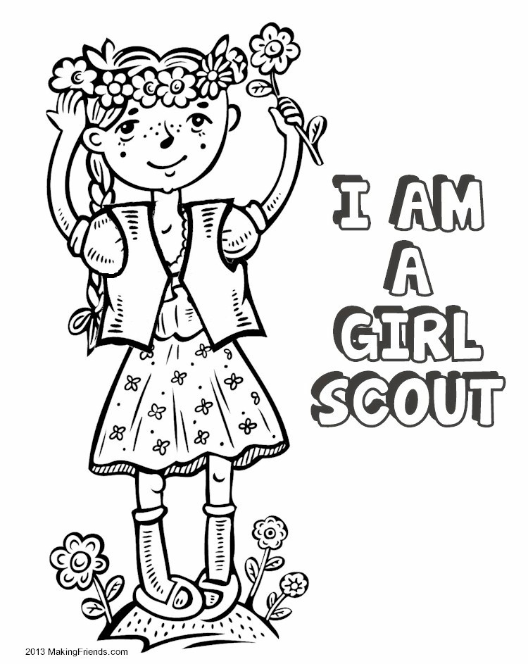 beautiful girl scout coloring picture