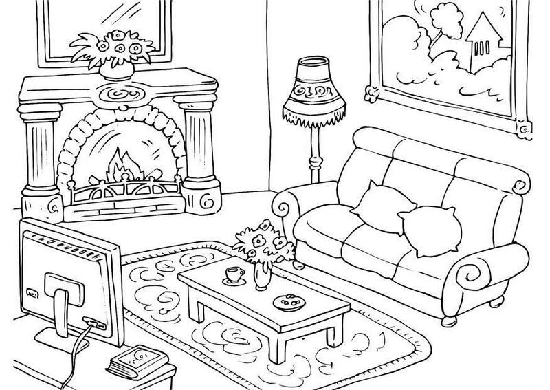 beautiful living room furniture coloring sheet