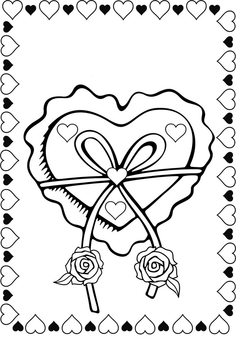 bow love hearts and roses coloring pictures
