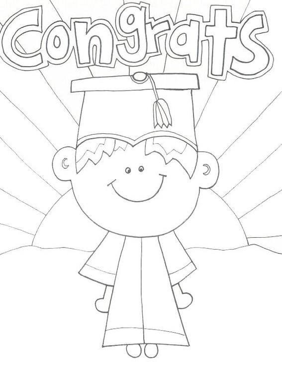 cartoon kids graduation coloring sheet