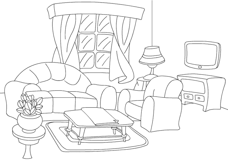 clean living room coloring sheet