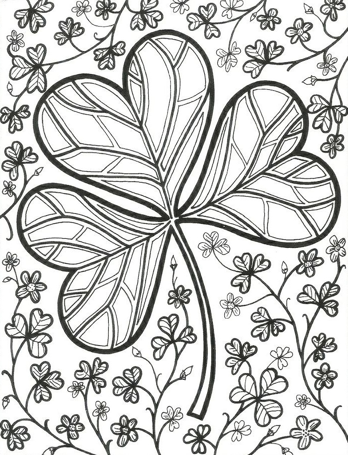 complicated shamrock coloring page