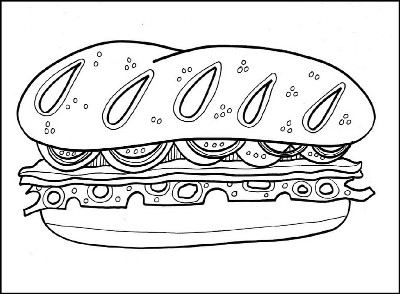 favorite sandwich coloring page