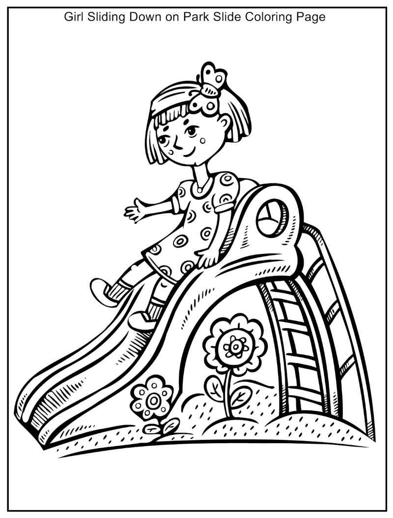 girl sliding in the park coloring page
