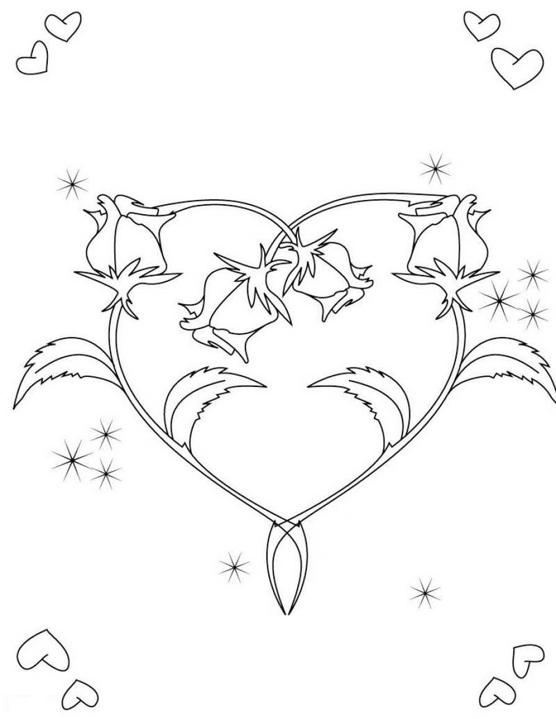hearts and loves rose flower coloring sheet printable