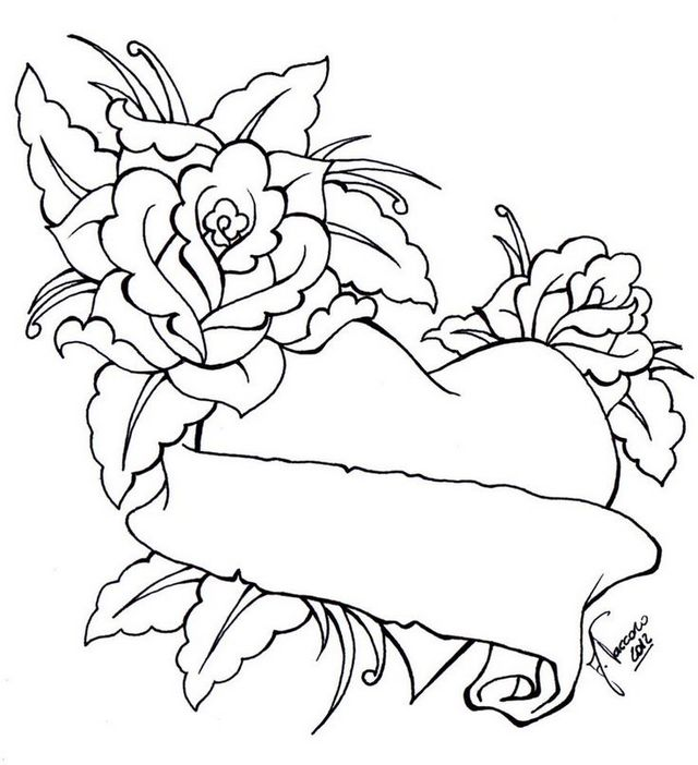 hearts and rose flowers coloring pages