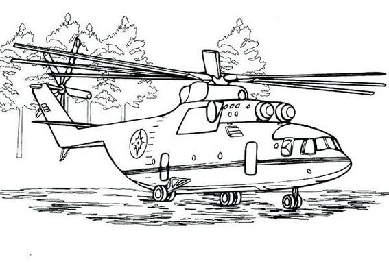 helicopter army coloring picture