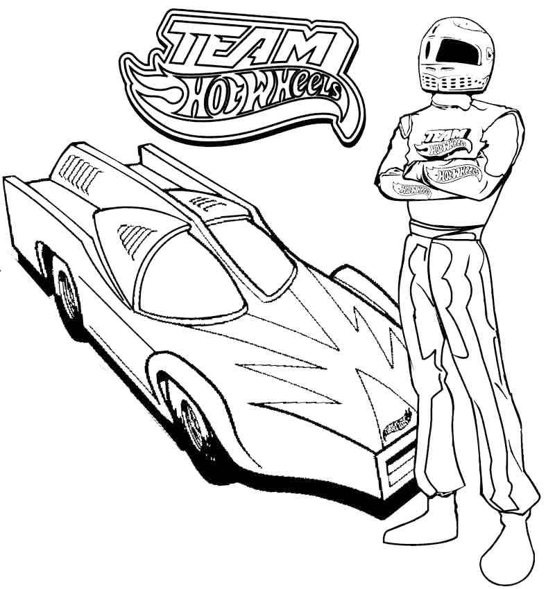 hot wheels and team coloring picture