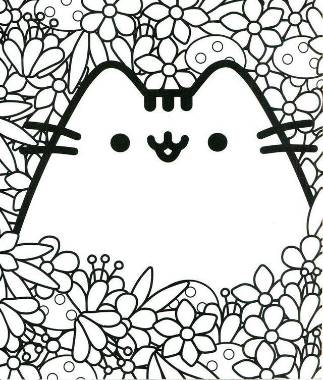kawaii cat coloring printable page
