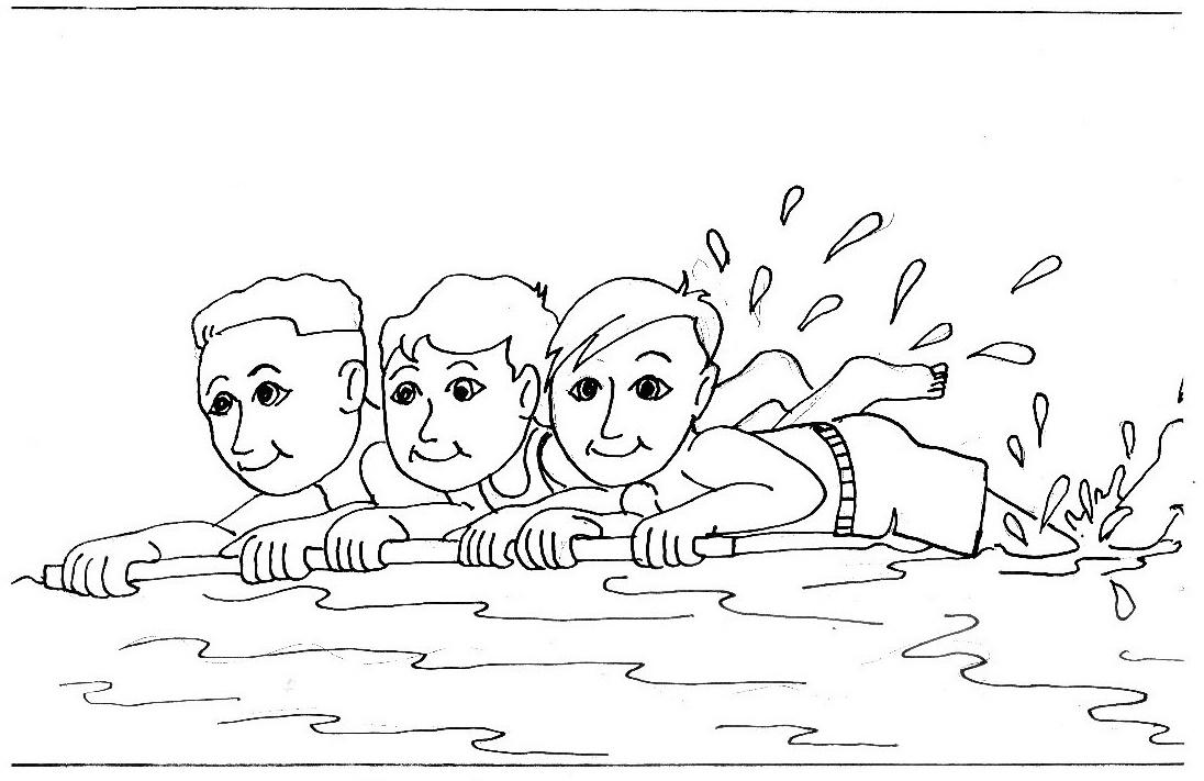 kids enjoy to swim coloring page