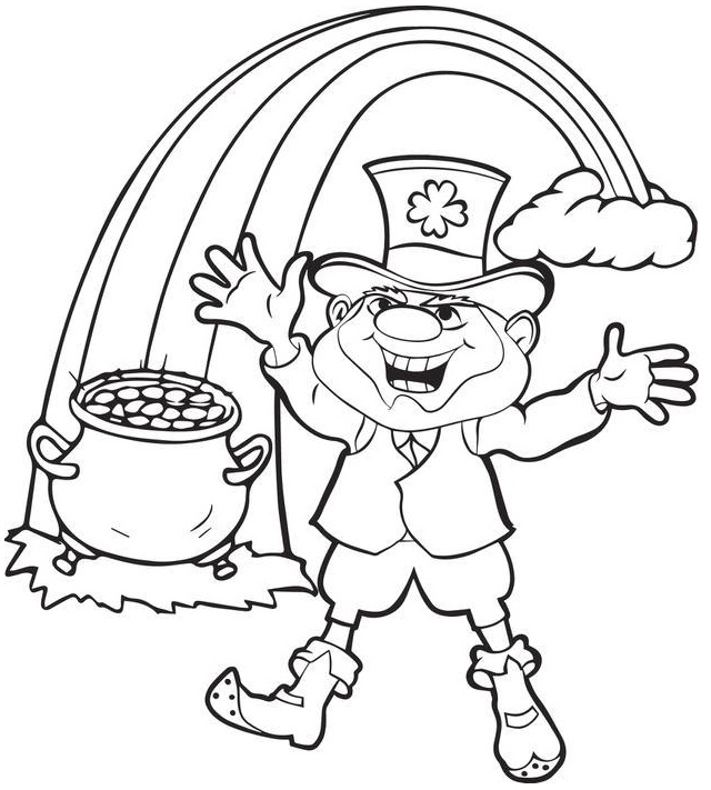 leprechaun with pot of gold at the end of the rainbow coloring page