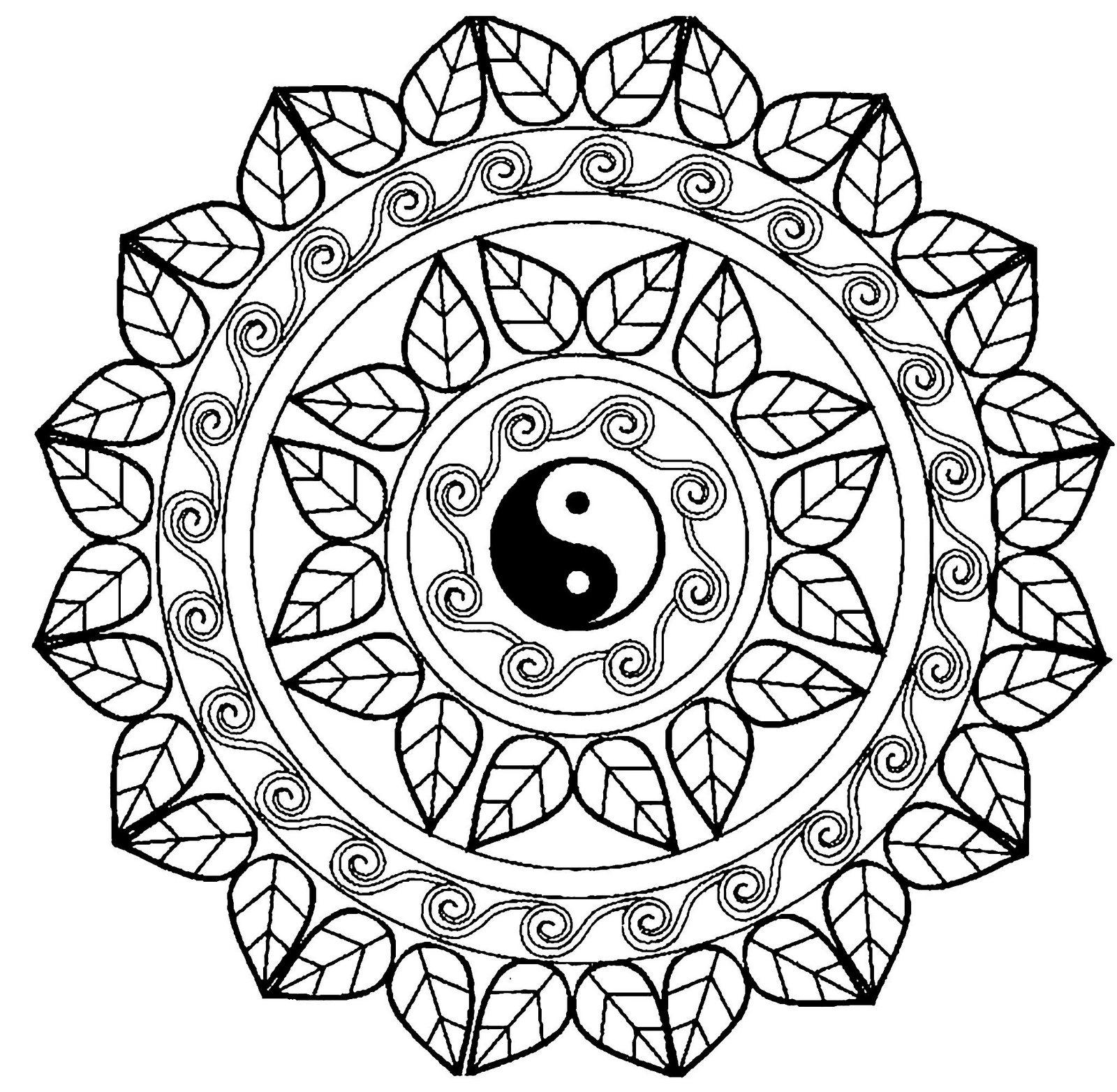 mandala yin yang coloring book