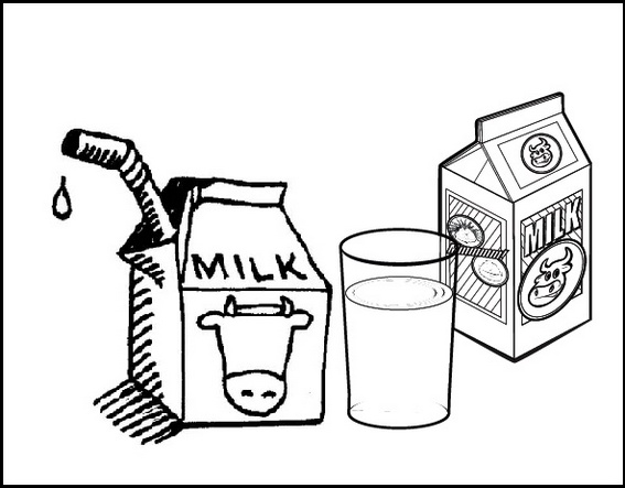 milk coloring page for kids