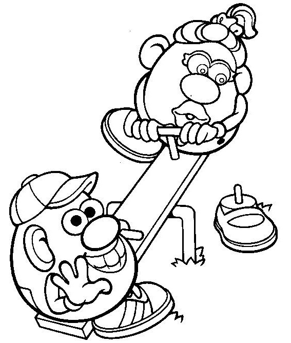 mr potato head seesaw coloring pictures