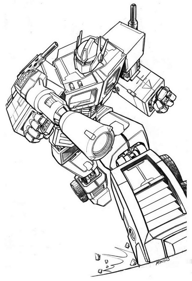 optimus prime in war coloring picture