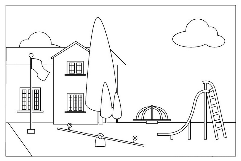outdoor activities at playground coloring sheet
