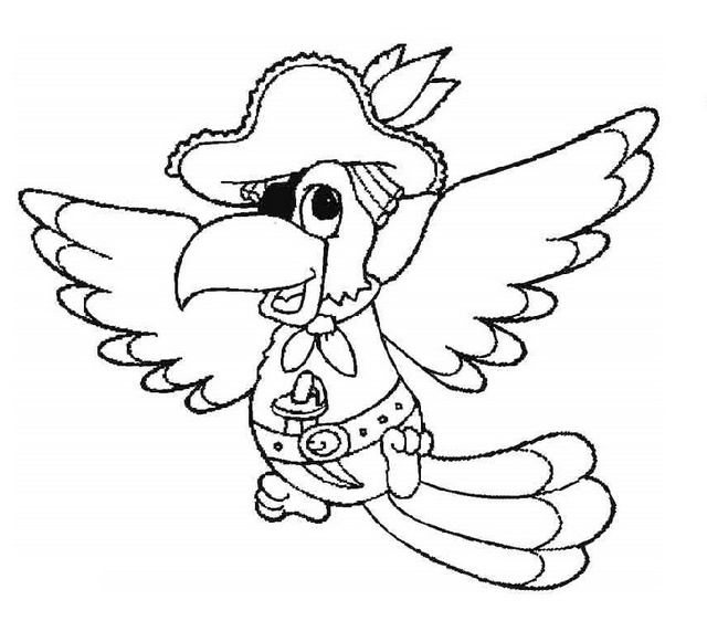 parrot pirate coloring sheets for little kids