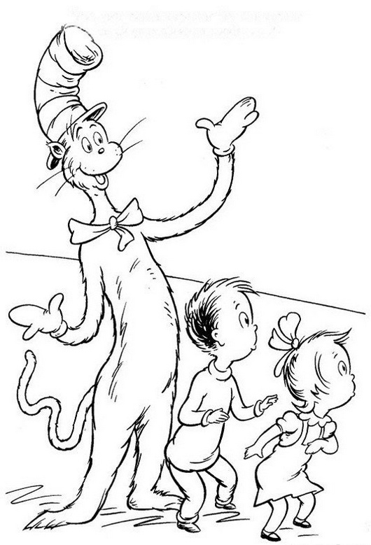 printable the cat in the hat coloring page for kids