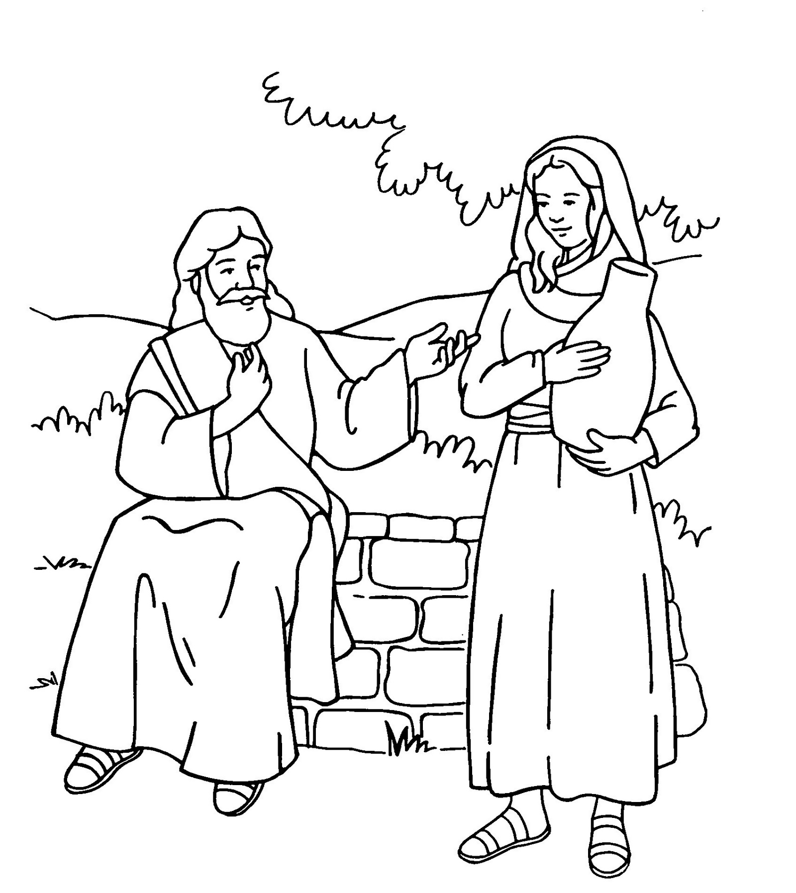 samaritan woman at well meaning history coloring sheet printable