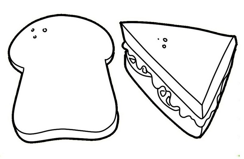 sandwich and slices of bread coloring page for kids