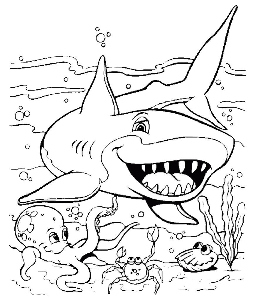 shark coloring page printable