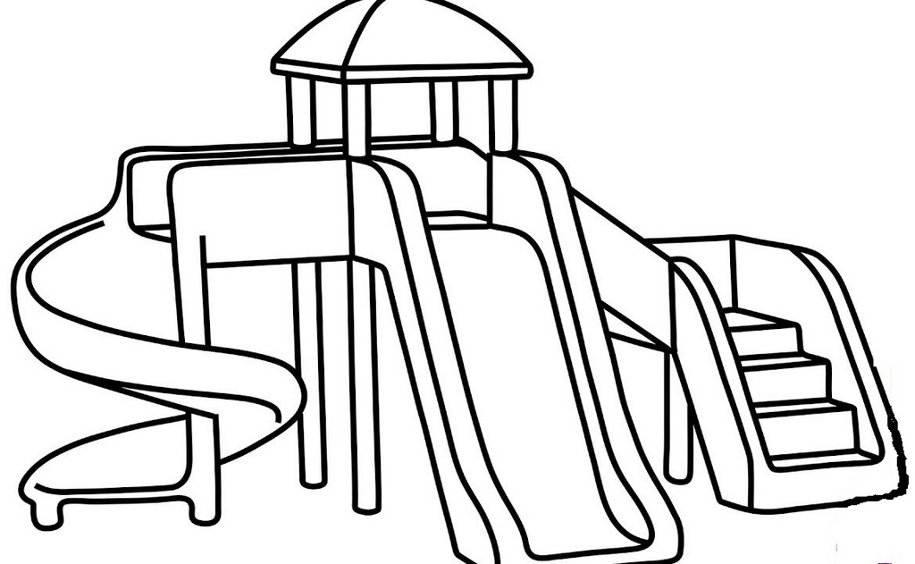 sliding park at playground coloring printable page