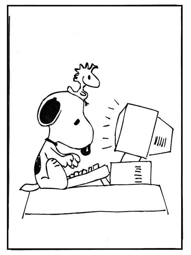 snoopy in front of computer coloring page