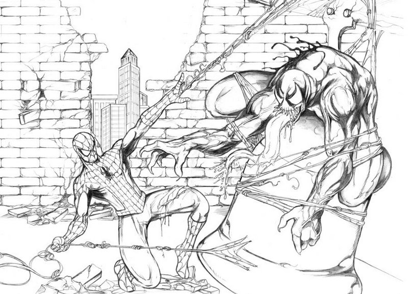 spiderman vs venom movie coloring page