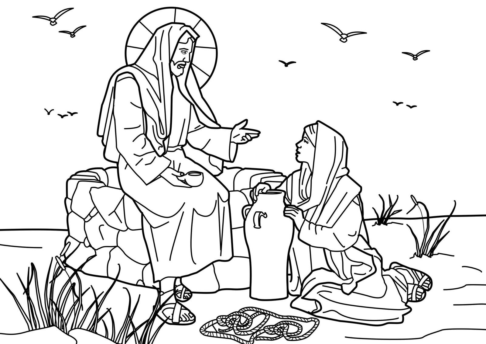 spiritual jesus with the samaritan woman at the well coloring picture