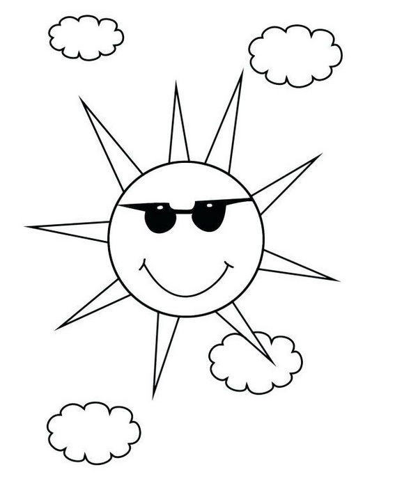 sun with glasses and clouds coloring page