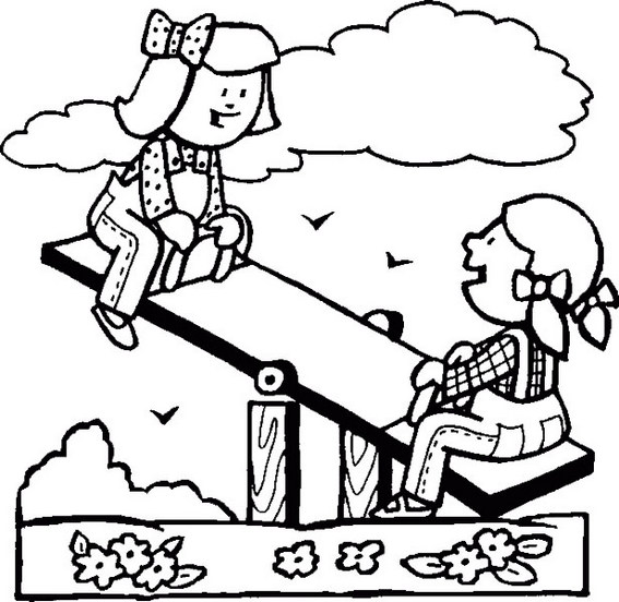 teeter totter seesaw playground coloring sheet
