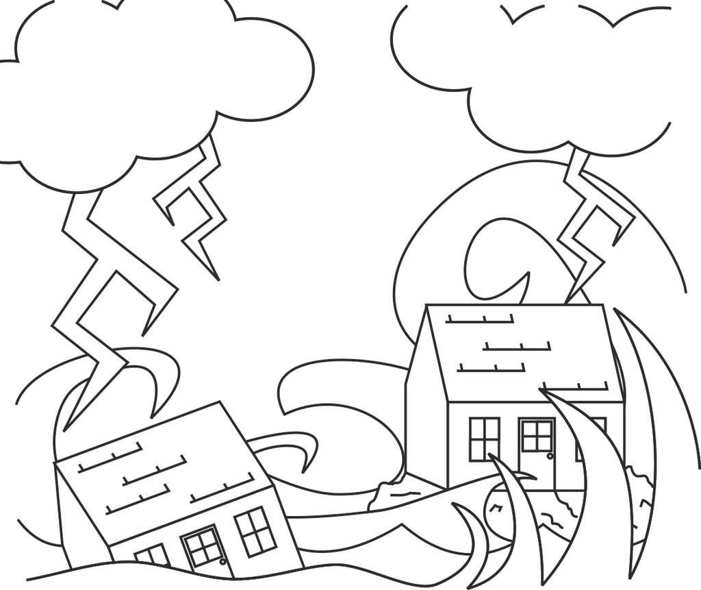 the Wise and the Foolish Builders story coloring picture