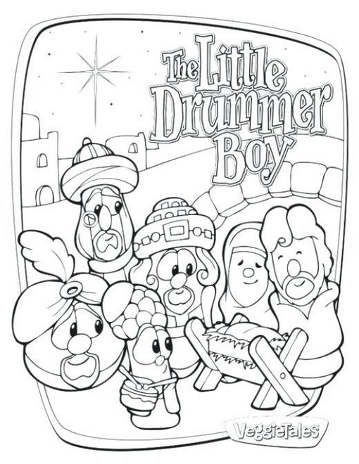 veggie tales the little drummer boy coloring sheet