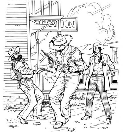 wild west cowboys coloring sheet